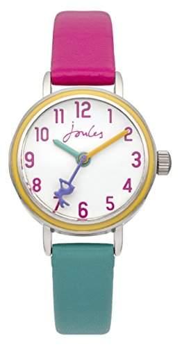 Joules JS014 Armbanduhr für Mädchen, analoges Display, Quarz, Kunststoff, weißes Zifferblatt und zweifarbiges Armband