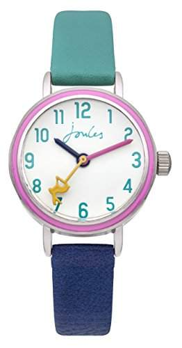 Joules Mädchen-Armbanduhr Analog Quarz weißes Zifferblatt und zweifarbiges PU-Armband JS015