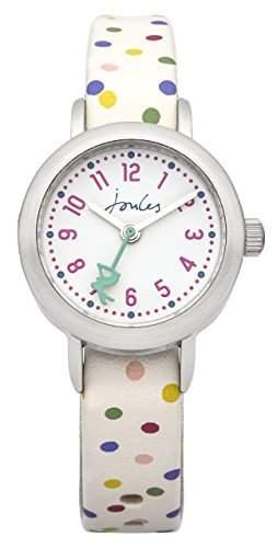 Joules JS018 Armbanduhr für Mädchen, analoges Display, Quarz, Kunststoff, weißes Zifferblatt und Armband