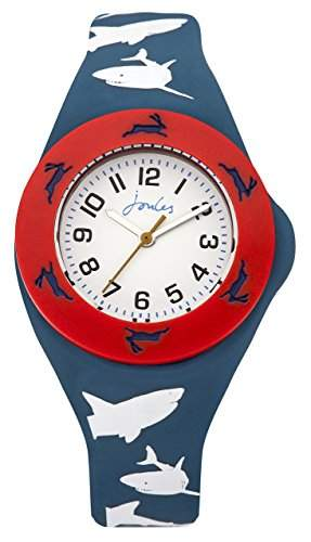 Joules Jungen-Armbanduhr JS020, analog, Quarz, weißes Zifferblatt und marineblaues Silikon-Armband