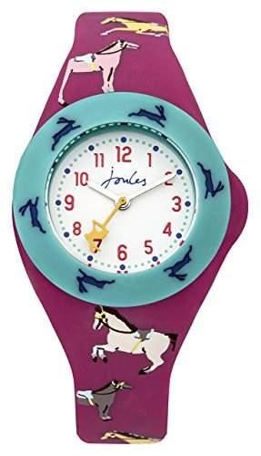 Joules Mädchen-Armbanduhr Analog Quarz weißes Zifferblatt und pinkes Silikon-Armband JS021