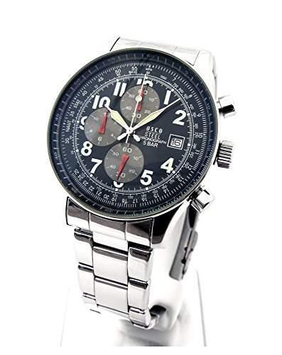 Neues Modell 2015 OSCO CHRONOGRAPH Herren Armbanduhr NAVY STEEL Schwarz 03692020