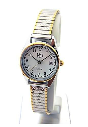OSCO KLASSIK Damen Armbanduhr Edelstahl-Flexband Datum Bicolor 03725008