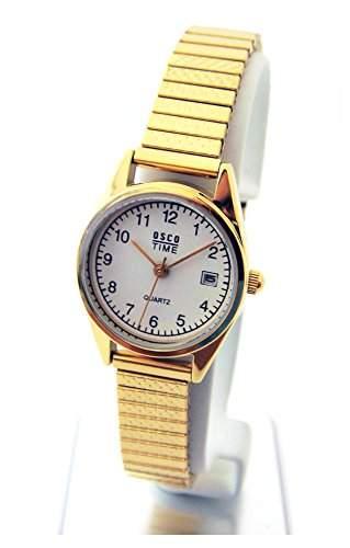 OSCO KLASSIK Damen Armbanduhr Edelstahl-Flexband Datum Gold 03725009