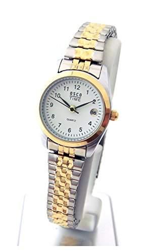 OSCO KLASSIK Damen Armbanduhr Edelstahl-Flexband Datum Luxury Bicolor 04265006