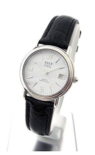 OSCO Klassik Elegante Damen Armbanduhr Saphirglas Lederband 04487003