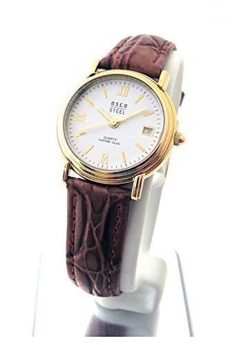 OSCO Klassik Elegante Damen Armbanduhr Gold Saphirglas Lederband 04487004