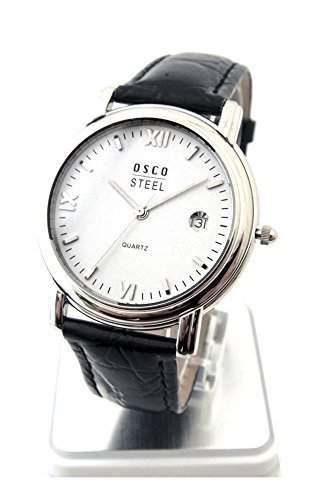 OSCO Klassik Flache Anzuguhr Herren Armbanduhr Saphirglas Lederband 04488004