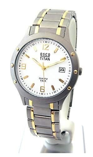 OSCO TITAN Herren Armbanduhr Bicolor Titanband Zifferblatt weiss Serie Berlin 04870005