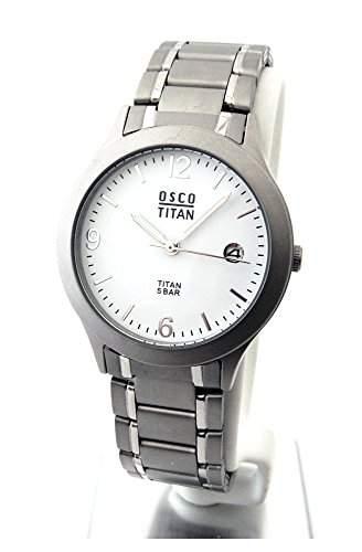 OSCO TITAN Herren Armbanduhr Titanband Zifferblatt weiss Serie Berlin 04870008