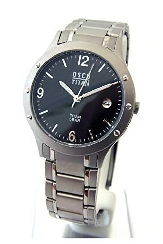 OSCO TITAN Herren Armbanduhr Titanband Zifferblatt schwarz Serie Berlin 04870012