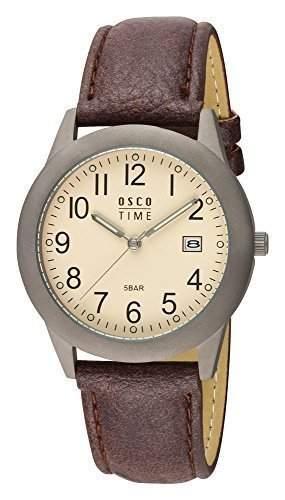 OSCO TITAN Herren Armbanduhr Band braun Zifferblatt beige Serie Berlin 04870014