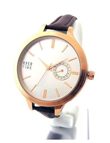 OSCO Damen Armbanduhr Leder Business Weekender Silber 06160001