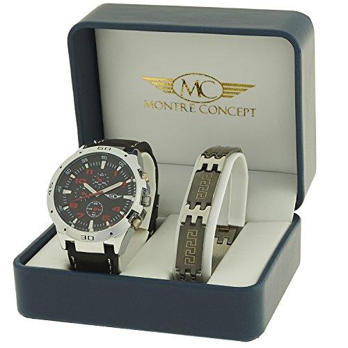 Geschenkbox zeigt Herren Armband Kunstleder schwarz mit Ziffernblatt rund Boden schwarz mehr ein Edelstahl Armband OEM cbh2 a765 rouge