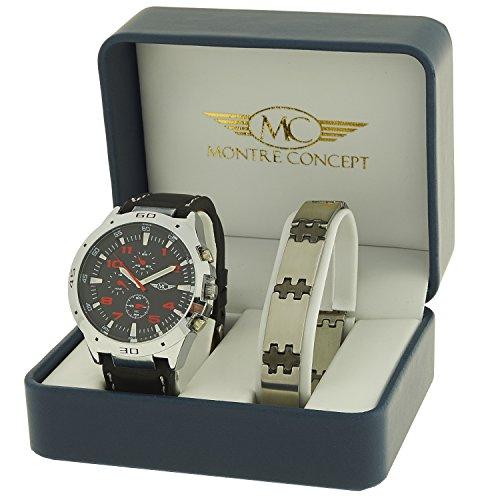 Geschenkbox zeigt Herren Armband Kunstleder schwarz mit Ziffernblatt rund Boden schwarz mehr ein Edelstahl Armband OEM cbh2 a765 bleu