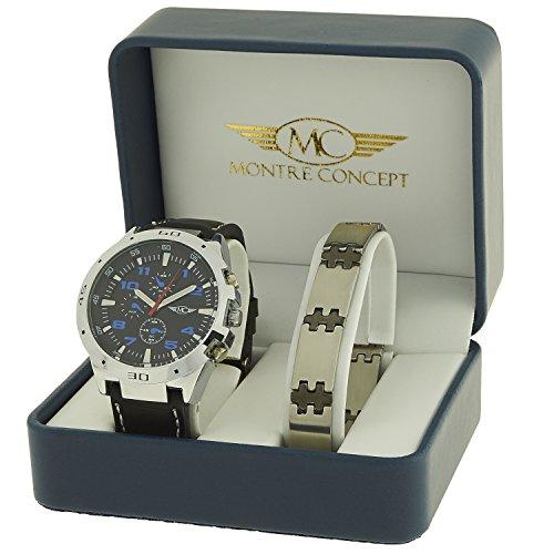Geschenkbox mit Herrenarmbanduhr aus schwarzem Kunstleder mit schwarzem rundem Zifferblatt inklusive Edelstahl Armband Nr CBH2 A765 NOIR NOIR