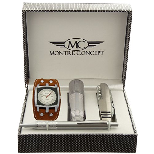Gift Ideas Geschenkset Armbanduhr Herren mit Multifunktions Messer Taschenlampe und Kugelschreiber Montre Concept Ref ccla262 camel