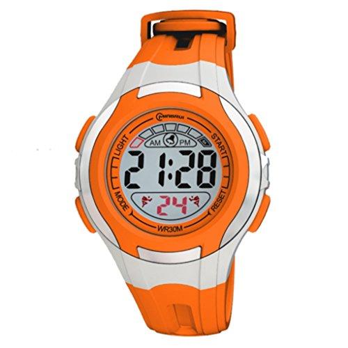 Digital Armband Kunststoff orange Zifferblatt rund Boden orange Marke zeigt Konzept ref pp mr8545 orange