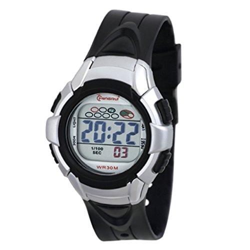 Digital Armband Kunststoff schwarz Zifferblatt rund Boden schwarz Marke zeigt Konzept ref pp mr8512 noir