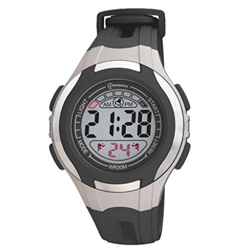 Digital Armband Kunststoff schwarz Zifferblatt rund Boden schwarz Marke zeigt Konzept ref pp mr8545 noir