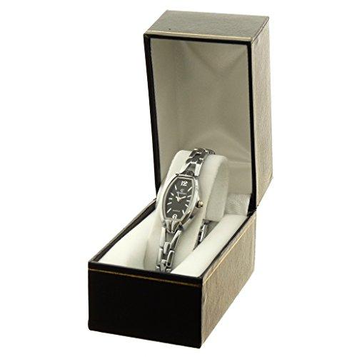 Zeigt Konzept Idee Geschenk Damen Armband Metall silber Zifferblatt Oval Boden schwarz Marke Chtime ref bt mcchc9 noir