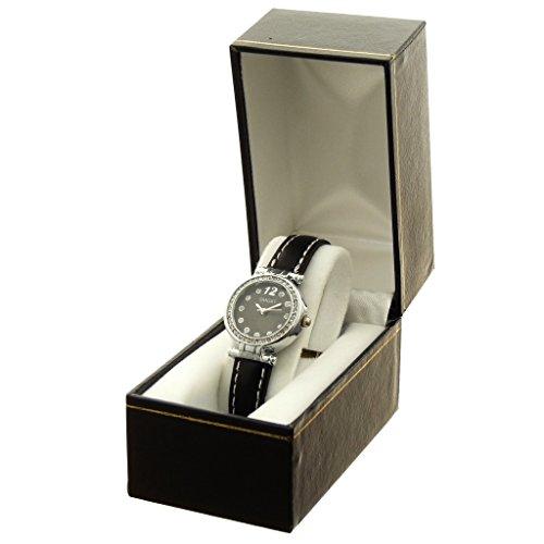 Zeigt Konzept Idee Geschenk Damen Armband PU schwarz Zifferblatt rund Boden schwarz Marke Ernest ref bt e97093 noir