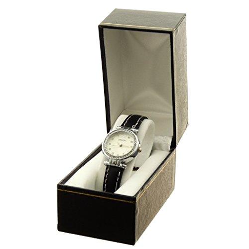 Zeigt Konzept Idee Geschenk Damen Armband PU schwarz Zifferblatt rund Boden Weiss Marke Ernest ref bt e97093 blanc