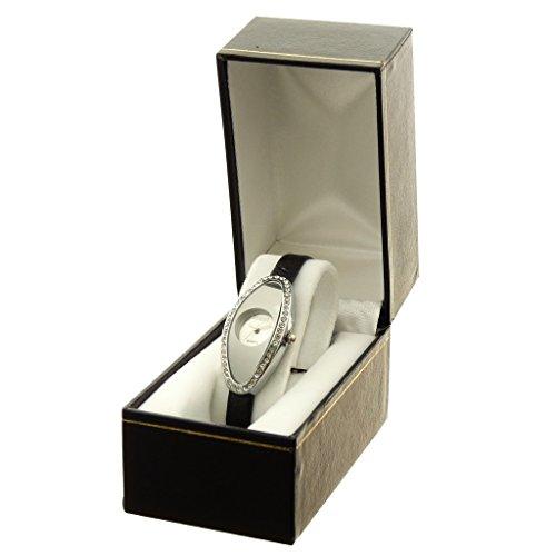 Zeigt Konzept Idee Geschenk Damen Armband Kunstleder schwarz Zifferblatt Oval Boden Silber Marke Ernest ref bt 2786 argent