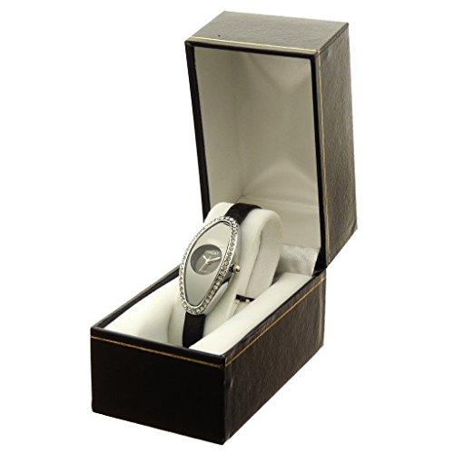 Zeigt Konzept Idee Geschenk Damen Armband Kunstleder schwarz Zifferblatt Oval Boden schwarz Marke Ernest ref bt 2786 noir