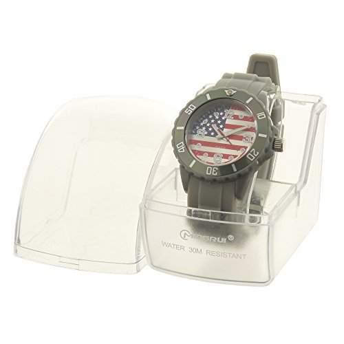 BellosAnalog-Armbanduhr für DamenKinder, graues Armband aus Silikon–rundes Zifferblatt mit Hintergrundmotiv: US-Flagge–Ref: BT-0721-USA-GRIS