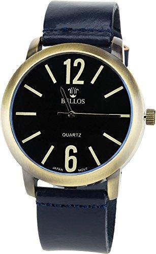 Montre Concept Uhr analog Maenner Armband leder blau gehaeusering rund farbe gold zifferblatt schwarz MVS 1 0042