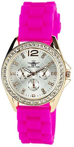 Montre Concept Uhr analog Frau Armband silikon rosa gehaeusering rund farbe gold rose zifferblatt silber strass MVS 2 00032