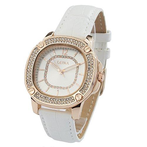 Montre Concept Uhr analog Frau Armband leder weiss gehaeusering eckig farbe gold rose zifferblatt silber strass MVS 2 00064
