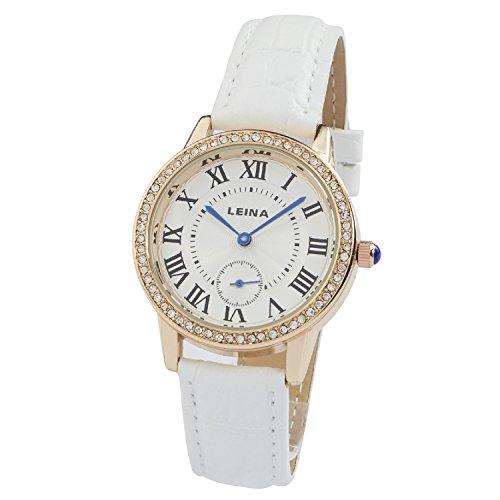 Montre Concept Uhr analog Frau Armband leder weiss gehaeusering rund farbe gold rose zifferblatt silber MVS 2 00074
