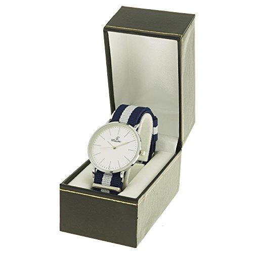 montre concept Uhr Analog Maenner Armband Nylon Mehrfarbig Zifferblatt rund Farbe Gold Rose Hintergrund weiss mab 1 0082