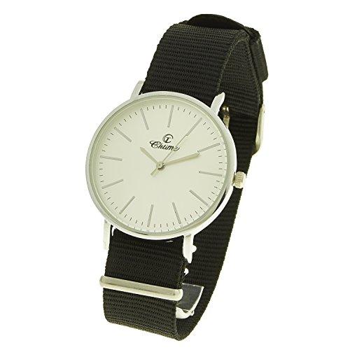 montre concept Uhr Analog Maenner Armband Nylon schwarz Zifferblatt rund Farbe Silber Hintergrund weiss MVS 0080