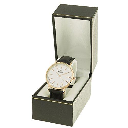 montre concept Uhr Analog Maenner Armband Leder Schwarz Zifferblatt rund Farbe Gold Rose Hintergrund weiss mab 1 0083
