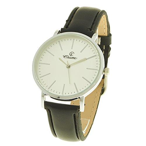 montre concept Uhr Analog Maenner Armband Leder Schwarz Zifferblatt rund Farbe Silber Hintergrund weiss MVS 0076