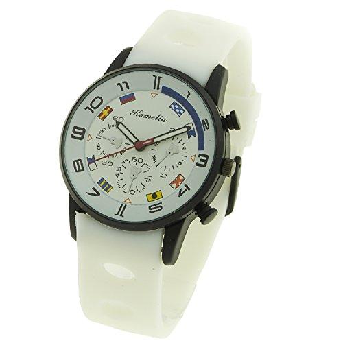 Montre Concept Uhr analog Maenner Armband silikon weiss gehaeusering rund farbe schwarz zifferblatt weiss nautischen flaggen MVS 1 0047