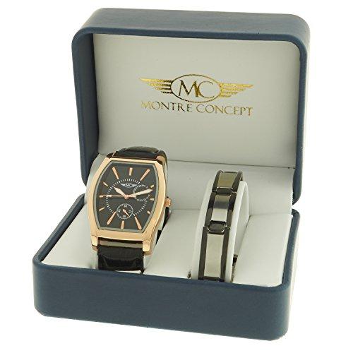 montre concept Geschenk Set Uhr mit Armband aus Edelstahl Uhr Analog Armband schwarz Gehaeuse rechteckig Hintergrund Schwarz BH1 1 0074