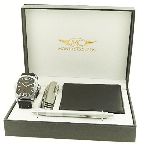 Montre Concept Geschenk Set Maenner uhr mit multifunktions messer brieftasche und Kugelschreiber CCP 1 0061