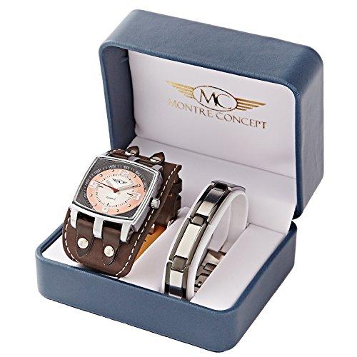 Montre Concept Geschenk Set Maenner uhr mit stahlarmband Uhr analog Armband braun gehaeusering rechteckige farbe silber zifferblatt braun BH1 1 0070