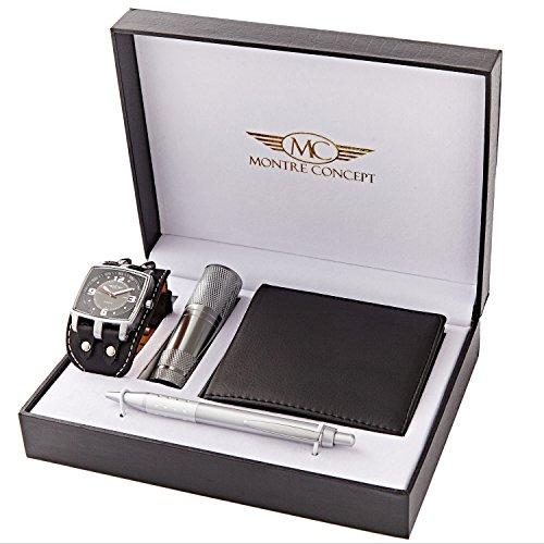 Montre Concept Geschenk Set Maenner uhr mit taschenlampe brieftasche und kugelschreiber CLP 1 0068