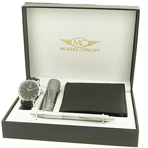 Montre Concept Geschenk Set Maenner uhr mit taschenlampe brieftasche und kugelschreiber CLP 1 0033