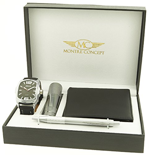 Montre Concept Geschenk Set Maenner uhr mit taschenlampe brieftasche und kugelschreiber CLP 1 0061