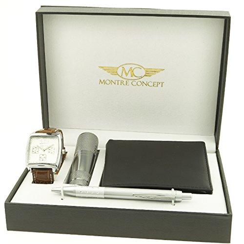 Montre Concept Geschenk Set Maenner uhr mit taschenlampe brieftasche und kugelschreiber CLP 1 0058
