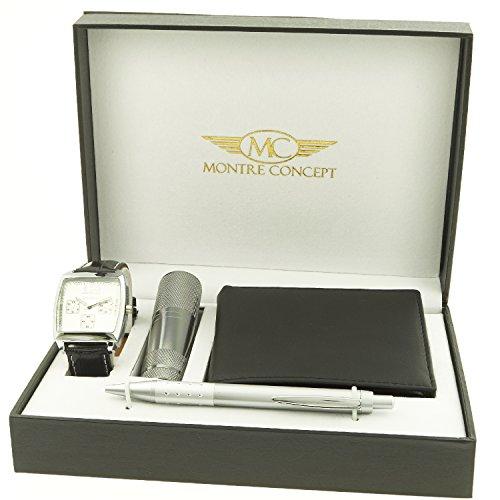 Montre Concept Geschenk Set Maenner uhr mit taschenlampe brieftasche und kugelschreiber CLP 1 0056