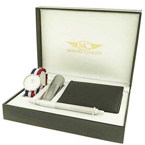 montre concept Geschenk Set Uhr mit Taschenlampe Portemonnaie Y Stift clp 1 0081