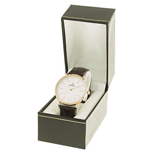 Montre Concept Geschenkschatulle zeigt Analog Herren Armband Leder braun Zifferblatt rund Farbe Gold Rosa Boden Weiss mab 1 0084