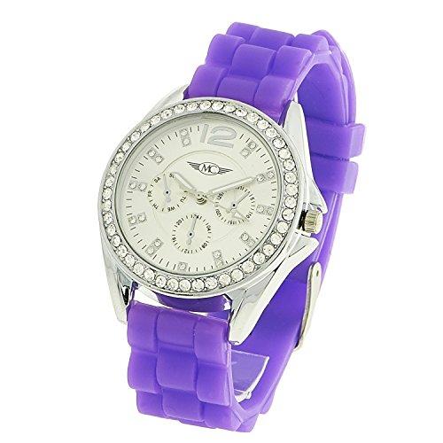 Montre Concept Geschenkschatulle Damen Armband Silikon Violett Zifferblatt rund Farbe Silber Boden Silber Strass mvs 2 00111